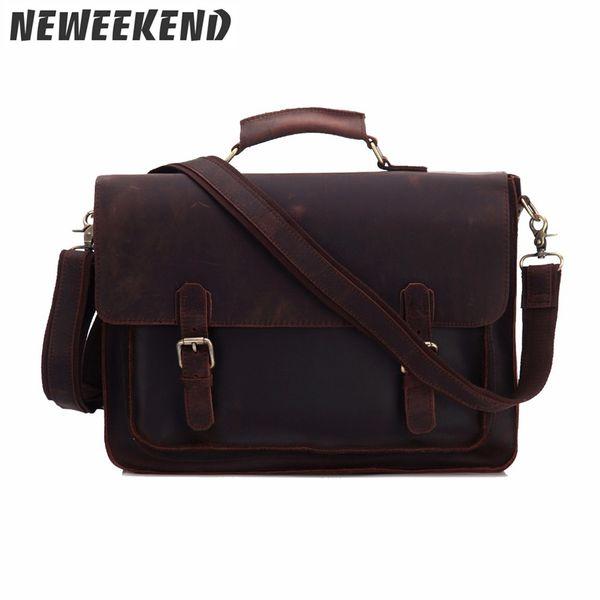 Genuine Leather Crazy Horse Men's Briefcase Crossbody Office Business Handbag Sling Bag Portfolio Laptop Bag For Man MS3001 #433597