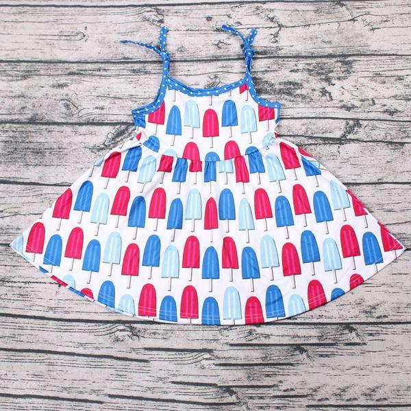 Детское женское бутиковое летнее платье-мини с рисунком мороженого