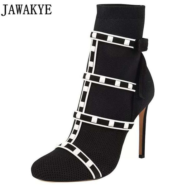 2018 askılı örgü Bilek Boots For Women Elastik Stretch Botaş 10 cm Yüksek Topuklar Bota Feminina çivili çorap Ayakkabı perçinler pompaları