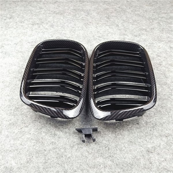 best selling 1 Pair 2-Slat Car Grilles For 5 Series E39 Carbon Look Front Racing Grill Grille ABS material