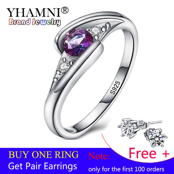 YHAMNI 100% Solid 925 Sterling Silver Fine Fashion Ring Inlay Colorful Rainbow CZ Crystal Wedding Jewelry Rings For Women 50035-C