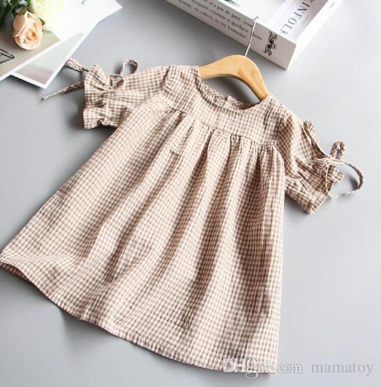 Girls Summer Doll Skirt Sleeveless Princess Cotton Dress kids Collar Stripe Lattice Tie Shirt Baby Birthday Party Clothes