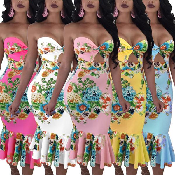 Mulheres Vestidos Casuais Floral Impresso Vestidos bainha / coluna mid-calf strapless sem mangas fora do ombro bodycon roupas de verão plus size 430
