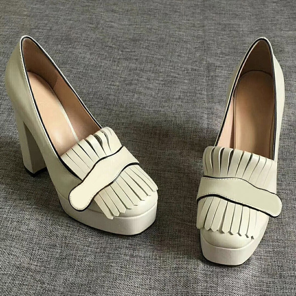 "Women Designer High Heels platform pump with fringe Marmont shoes Vintage white leather Toe Pumps Double tone hardware 3.3"" 4.5"" height"