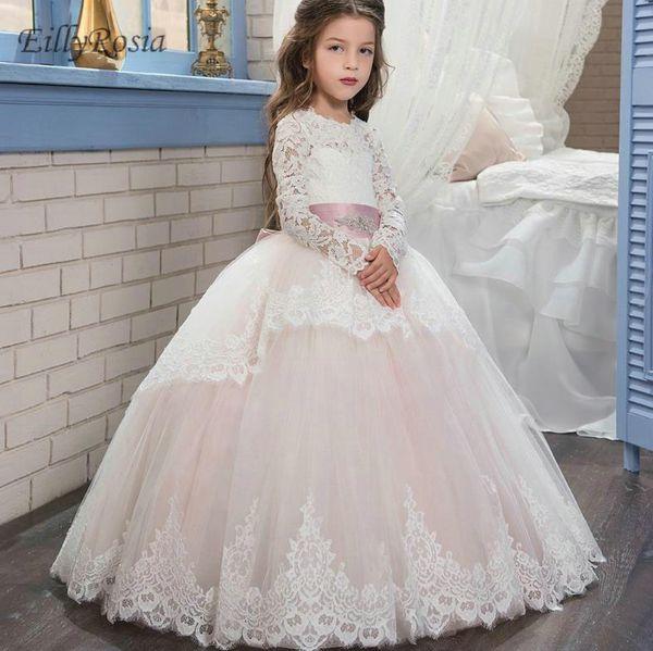 Compre Vestidos De Niña De Flores De Manga Larga Largos Para El Partido De Encaje Apliques Vestido De Fiesta Precioso Vestido De Fiesta Para Niñas