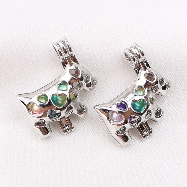 top popular 10pcs Cute Animal Cow Love Heart Oyster Pearl Cage Jewelry Perfume Essential Oil Diffuser Cage Lockets Pendant Necklace Charms 2021