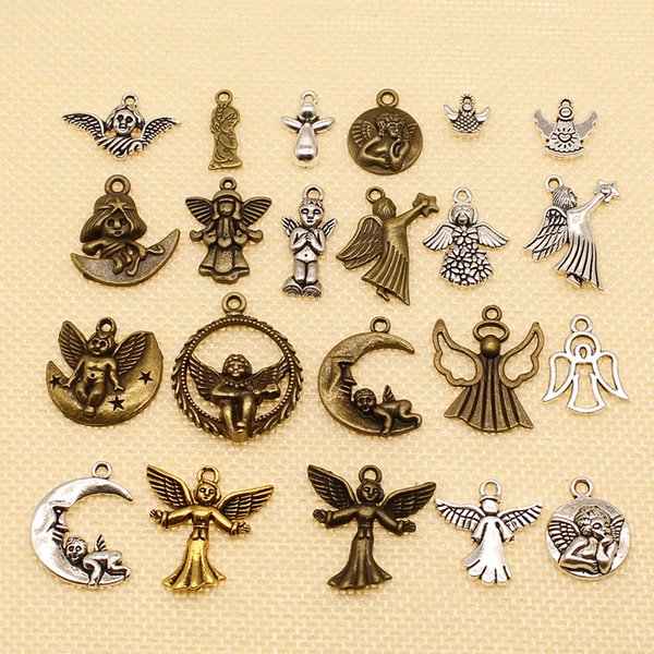 60 Pieces Metal Charms For Jewelry Making Moon Angel Wings HJ013