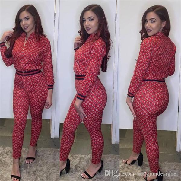 Femmes Designer Designer 2 Pcs Pantalon Rayé Imprimer À Manches Longues Vêtements Pour Femmes Sexy Style De La Mode Casual Apparel