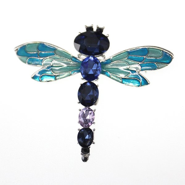20pcs/lot crystal enamel hot sell blue/green cute dragonfly animal brooch pin for gift/party