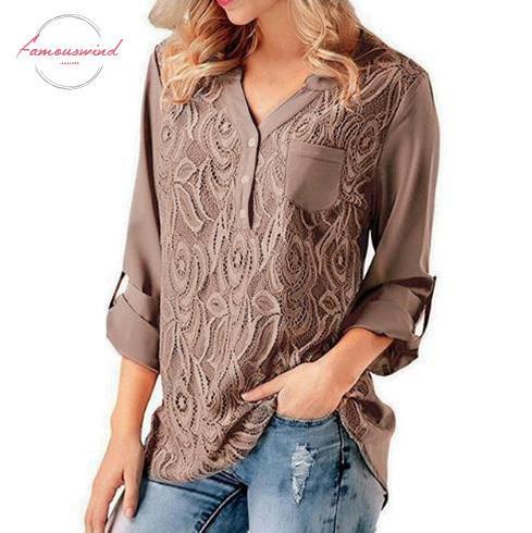 Bluzlar Dantel Yaz 2019 Kadın şifon Casual Gevşek Uzun Kollu Bluz Gömlek blusas Mujer Artı boyutu 5XL Tops