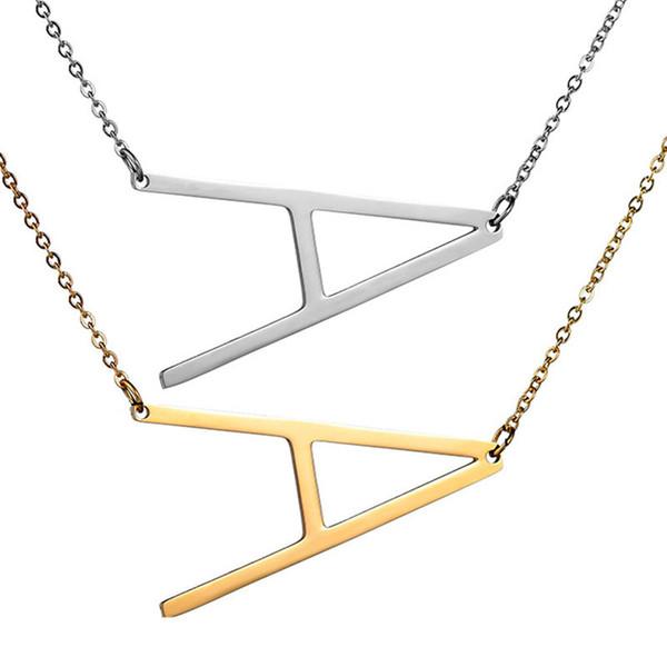 Нержавеющая сталь A-Z 26 английская буква кулон ожерелья мода розовое золото серебро ключицы цепи аксессуары для женщин