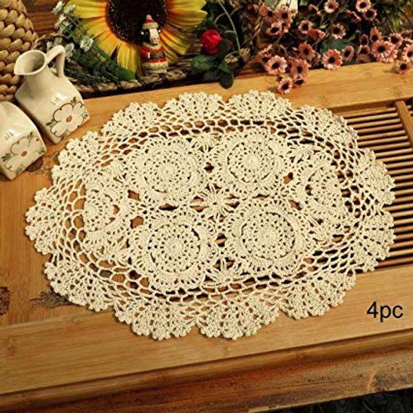 Häkeln Sie Baumwollspitze Tischsets Deckchen 4pc, Oval, Beige, 12 x 17 Zoll