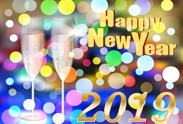 Laeacco Happy New Year 2019 Light Bokeh Wine Glass Photography Backgrounds Customized Photographic Backdrop For Photo Studio