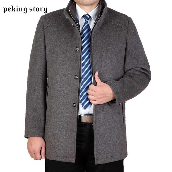 Peking Story Autumn Winter Mens Woolen Jackets Men' s Mandarin Collar Large Size 3XL Coat Man Casual Wool & Blends Overcoat