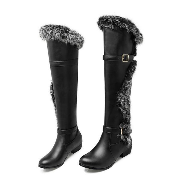 Compre Tamaño 34 44 Mujeres De Alta Calidad De Piel Sintética Rodilla Botas Altas Mujer PU Zapatos De Cuero Señoras Hebilla Zapatos De Vestir Zapatos