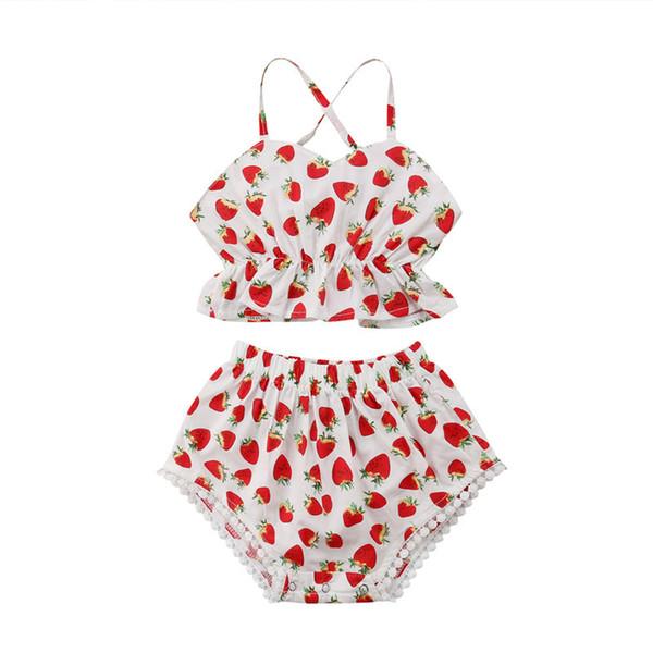 Yaz Çocuklar Bebek Kız Kırmızı Çilek Beachwear Bikini Suit Mayo Mayo Mayo Yüzme Kız Giysileri