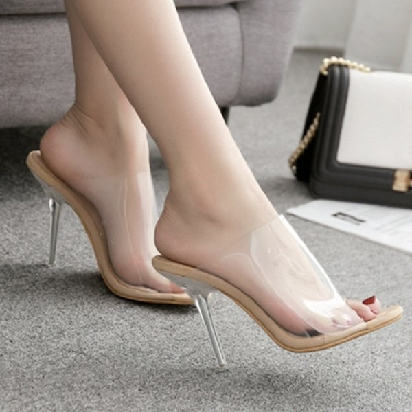 8a548201c47 Pvc Transparent Summer Women Jelly Sandals Slippers Sexy Crystal Clear High  Heels Peep Toe Ladies Shoes Big Size Stiletto Slides High Heel Shoes ...