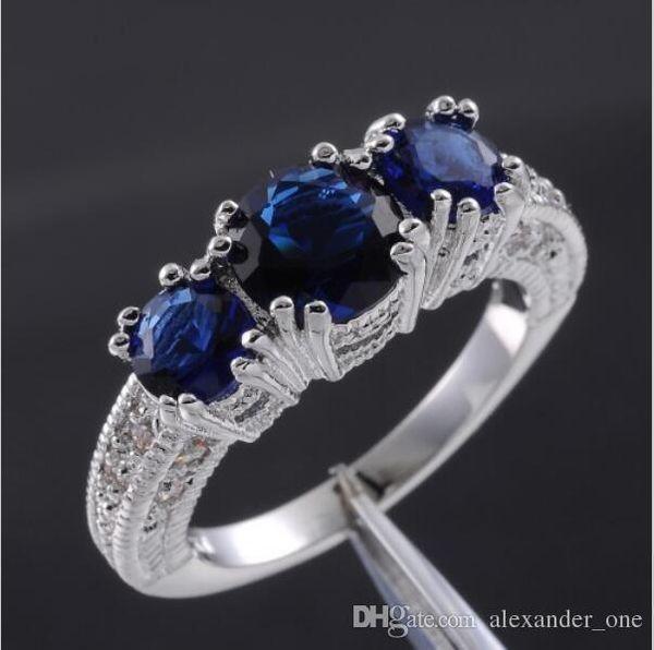 Pop Maggiore Best4UU Dimensioni 6/7/8/9 oro bianco all'ingrosso di moda 10KT riempito Classic Blue Sapphire tre-pietra anello gemma per le donne