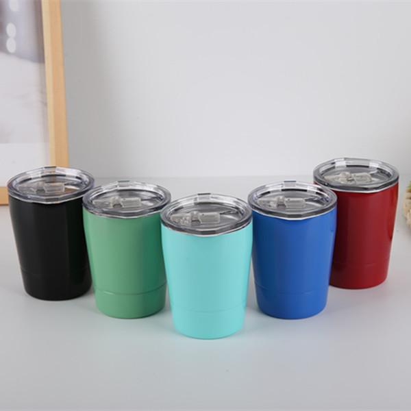 Tasses à café en acier inoxydable de paille 8oz de tasse de lait d'enfants extérieurs avec le couvercle Portable rouge bleu vert verre noir 13 3sxD1