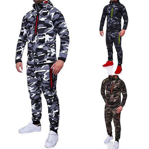 NIBESSER 2019 Men Fashion Camouflage Jackets+Pants Set Male Tracksuit Outdoors Suit Men's Gyms Set Casual Sportswear