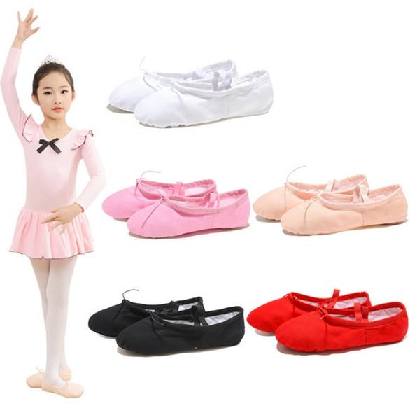 Çocuk Gril Danse Yumuşak Alt Kadınlar Eğitmenler Klasik Pençe Yumuşak Bale Ayakkabı Eğitim Lady Tasarımcı Üçlü Ayakkabı Dans 12pcs Dans Ayakkabıları