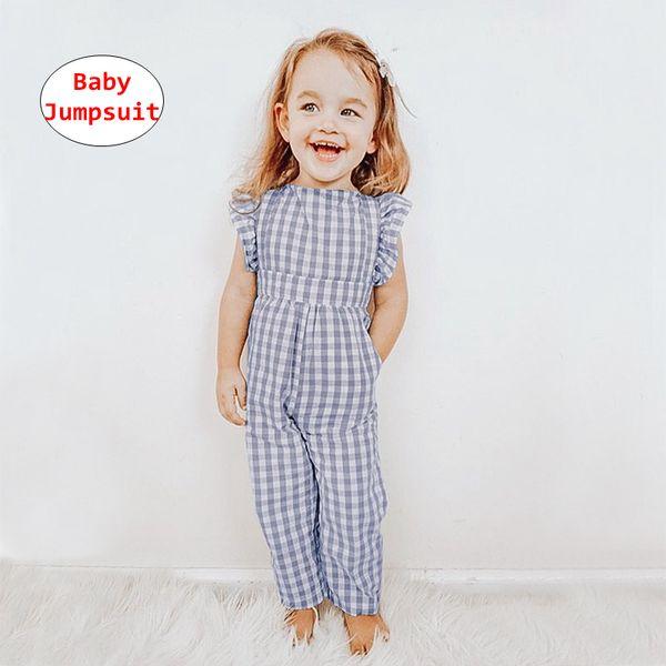 Toddler Girl Jumpsuit Kids Plaid print Romper designer onesie Baby Summer Autumn fly sleeve jumpsuits for 0-5T