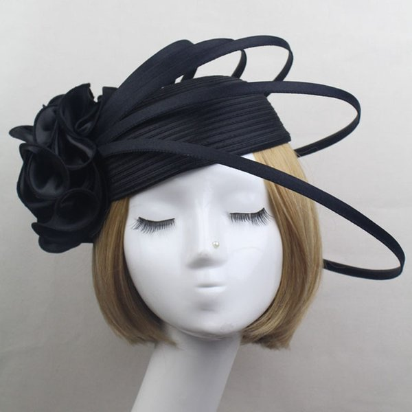 Ladies Black/Ivory/Purple Satin Flower Fascinator Hat Vintage Fashion Women wedding Party Elegant Fascinators Hair Accessories