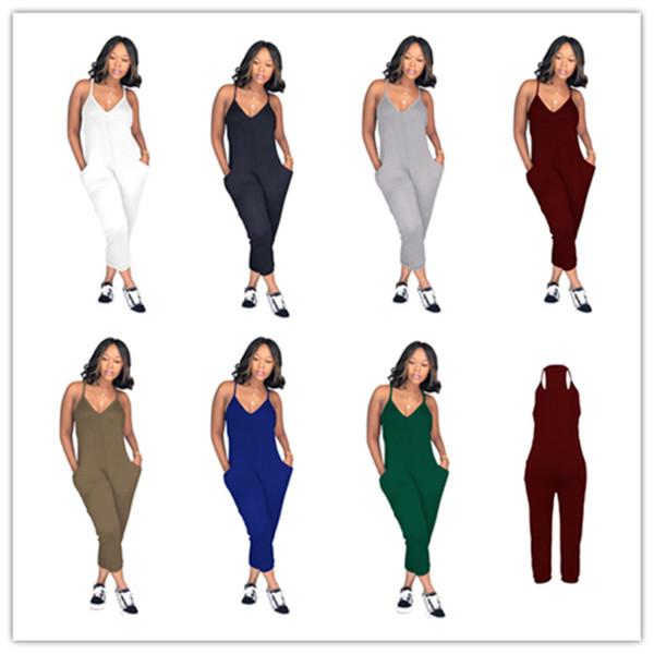 S-3XL Mujeres Color Sólido Pantalones Romper V Cuello Overol Piernas Anchas Una pieza de tanque Jumpsuit Loose Pants Clubwear Sin mangas Traje Nuevo C51413