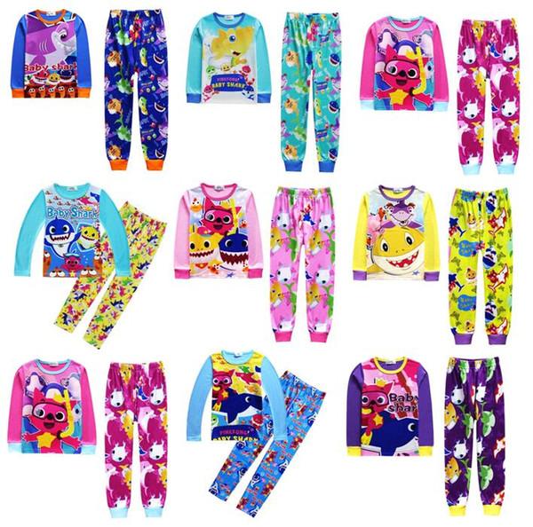 Babyhaifisch entspricht Pyjama-Mädchenjungen Baumwollkarikatur-langem Hülsen-T-Shirt + Hosen 2pcs stellt Babykindkleidung ein