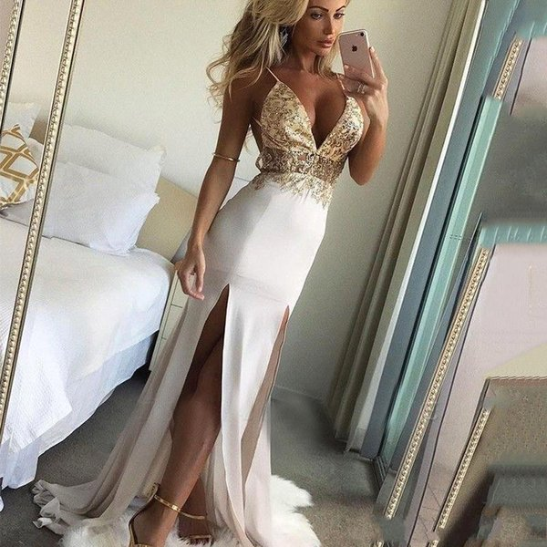 2020 Modest Mermaid Prom Dresses Spagehtti Strap With Side Splits Holidays Party Gowns Plus Size Custom Made