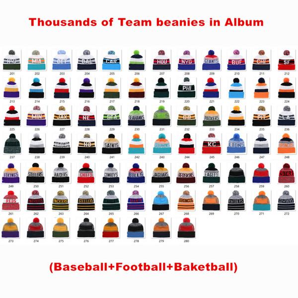 Nouvelle Arrivée En Gros Football Bonnets Chapeaux Américain Baseball Toutes Les Équipes Bonnets Sports Hiver Côté Ligne Bonnets Tricotés Bonnet Beanie Drop Shipping