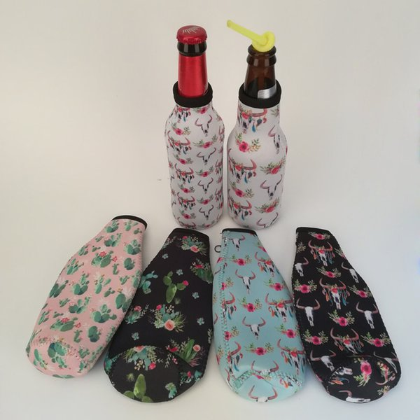Garrafa Bullskull Neoprene Beer refrigerador Atacado Blanks Cactus Flower Enrole Suporte da cerveja pode cobrir sacos de presente de casamento transporte livre DOM106509