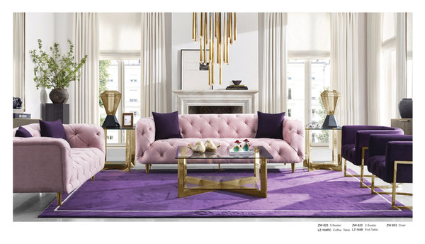 Velvet Chesterfield Sofa Design for Living Room Living Room Furniture moderna Antique Pink Usa Loveseat Tre Posti