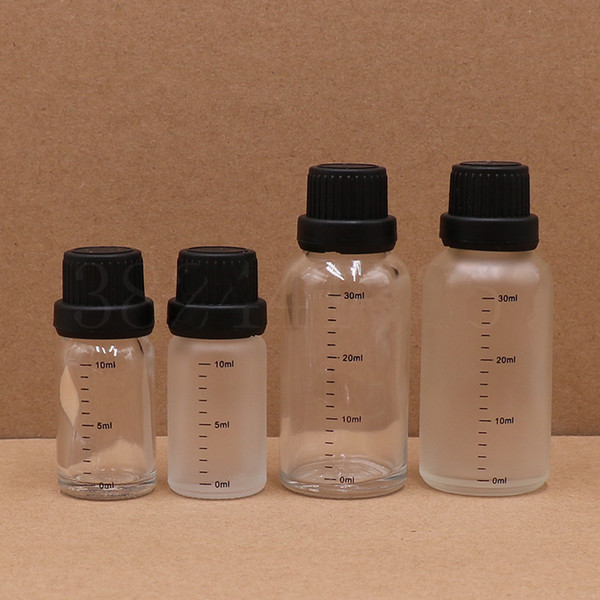 10/30ml Empty Clear Frosted Glass Euro Orifice Sample Bottles Essential Oil Liquid Aromatherapy Pipette Vials F3531