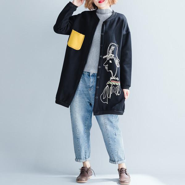 2019 plus size donna giacca in pile cappotto cartone animato tasca tasca patchwork scollo a V donna casual soprabito lungo colore giallo / nero