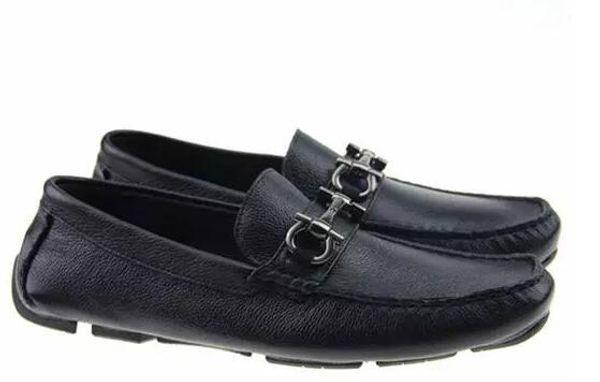 Soft Leather men leisure dress shoe part gift shoes Metal Buckle Slip-on Famous men lazy falts Loafers Zapatos Hombre 40-46