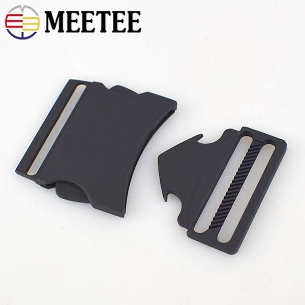 Meetee 40 MM Metal Yayın Tokaları Çift Ayarlanabilir Yan Evcil Yaka Açık Sırt Çantası Askı Dokuma Kemer Toka Çanta Aksesuarları AP474