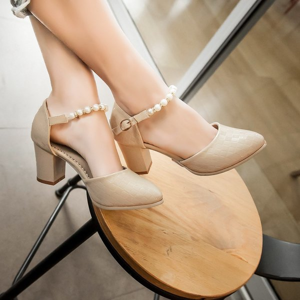 Sexy2019 Concise Lattice Grain Baotou Sharp String Of Beads Sandals Coarse With High-heeled Shoes Shoe