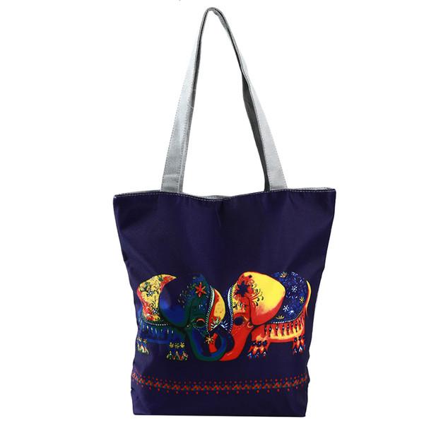 Women Elephant Printed Tote Leisure Handbag Casual Beach Bags Simple Shoulder Bags Reusable Shopping Bag