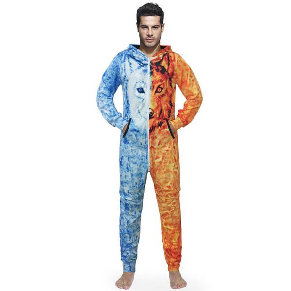 Men Onesie Sleep Lounge Adult Sleepwear One Piece Pyjamas Male Jumpsuits Hooded Onesies For Adult Men