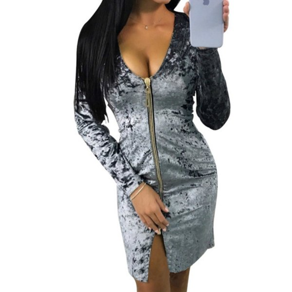 Women Spring Autumn Dress Warm Fashion Zipper Long Sleeve Velvet Dresses Party Vestidos Sexy Sheath Bodycon Dress Clubwear T5190606