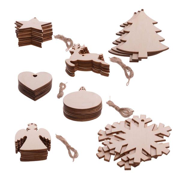 10 pcs / lot ornements d'arbre de Noël copeau de bois bonhomme de neige arbre chaussettes de cerf suspendus pendentif décoration de Noël cadeau de Noël artisanat