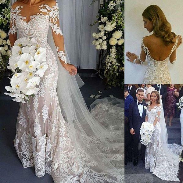 Magnifique bijou sirène de dentelle Applique manches longues Backless balayage train Dreses de mariage plis Custom Made robes de mariée mariage