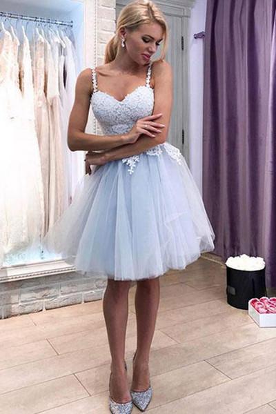 Vestidos de Baile A Linha de Cintas de Espaguete Na Altura Do Joelho Tulle Apliques de Renda Elegante Vestidos de Cocktail Céu Azul chique vestido