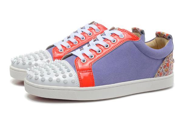2019 Designer Sneakers Low Cut Freizeitschuhe Spikes Flats Schuhe für Männer und Frauen Leder Sneakers Party Luxus Schuhe