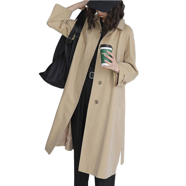 2019 new fashion long trench coat women spring autumn hidden single breasted windbreaker female casual coats g549