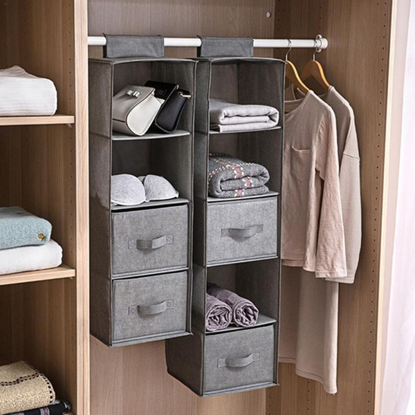 hanging wardrobe storage cabinets linenette 3/4/5 layers home space saver shoe multi-layer folding hanging bag shelves