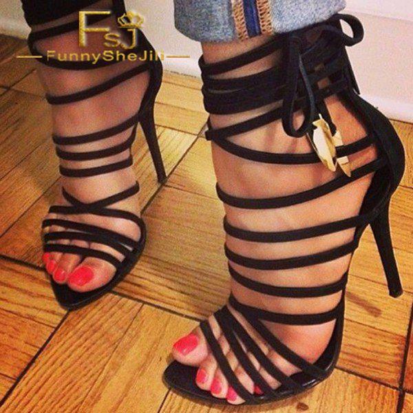 Black Strappy Sandals Open Toe Sexy 5 Inches Stiletto Heel Suede Shoes Incomparable Generous Elegant Attractive Fashion FSJ