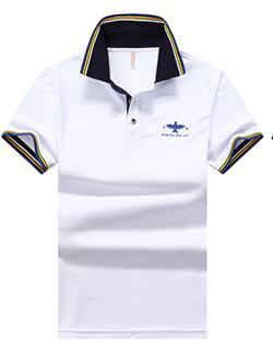 19New summer iced mercerized cotton short-sleeved T-shirt men's lapel embroidered loose large size men's business polo shirt
