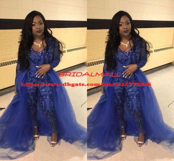 Комбинезон королевского синего выпускного платья с оверсами V-образным вырезом с длинным рукавом блестками вечерние платья плюс размер африканского театрализованного брюк Вечерняя одежда